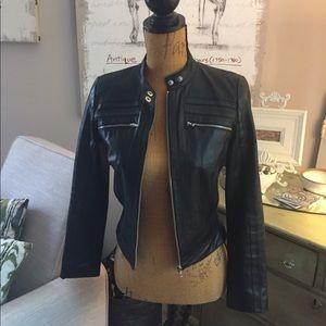 Arden B Cropped Black Leather Moto Jacket